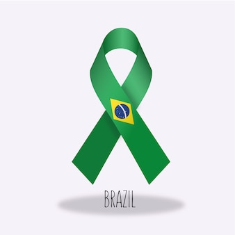 Conception du ruban du drapeau du brésil