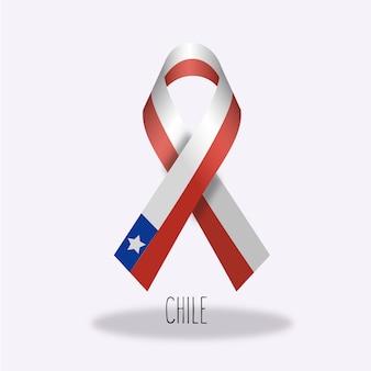 Conception du ruban du drapeau du chili