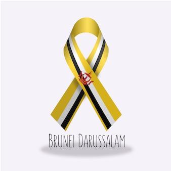Conception du ruban du drapeau du darussalam de brunei