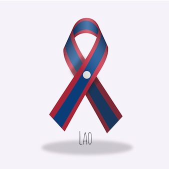 Conception du ruban du drapeau lao