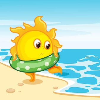 La conception du soleil est prête pour la baignade
