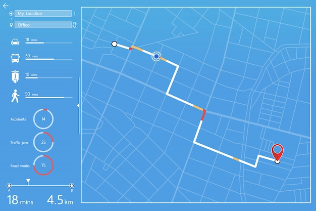 Conception du tableau de bord de la navigation gps sur le plan de la ville