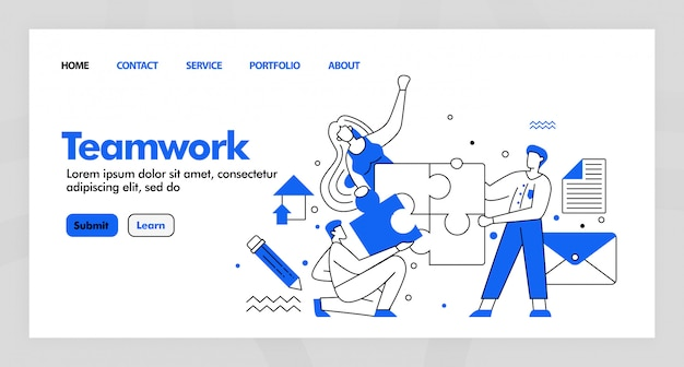 Conception du travail d'équipe pour le site de la page de destination de l'entreprise avec dessin plat.