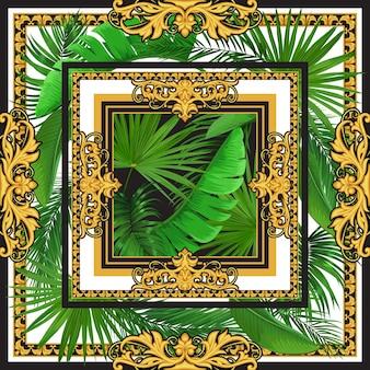 Conception d'une écharpe en soie avec des éléments rococo dorés et des feuilles de palmiers tropicaux