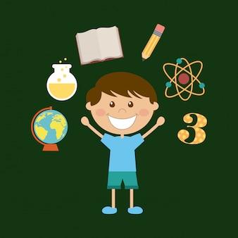 Conception de l'école au cours de l'illustration vectorielle fond vert