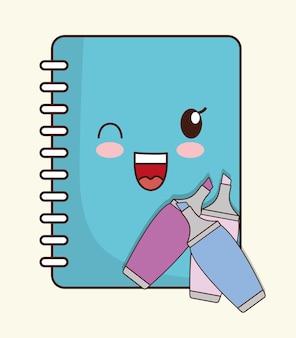 Conception de l'école représentée par kawaii notebook et icône de marqueur