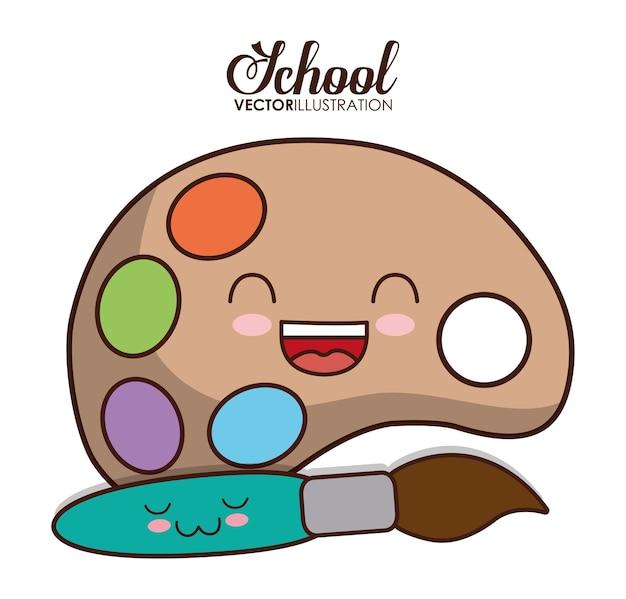 Conception de l'école représentée par la palette kawaii et icône de la brosse