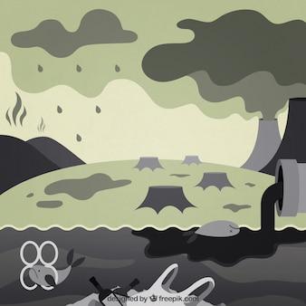 Conception de l'écosystème et de la pollution dans un style plat