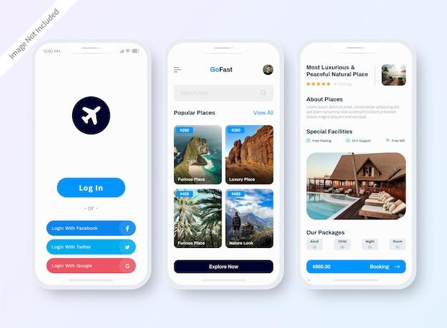 Conception d'écran de l'application de l'interface utilisateur de l'hôtel en ligne
