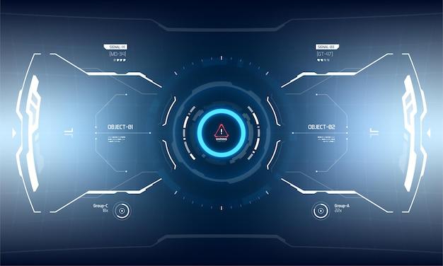 Conception D'écran D'interface De Vecteur Futuriste Hud. Affichage De La Technologie De Réalité Virtuelle Sci-fi Vecteur Premium