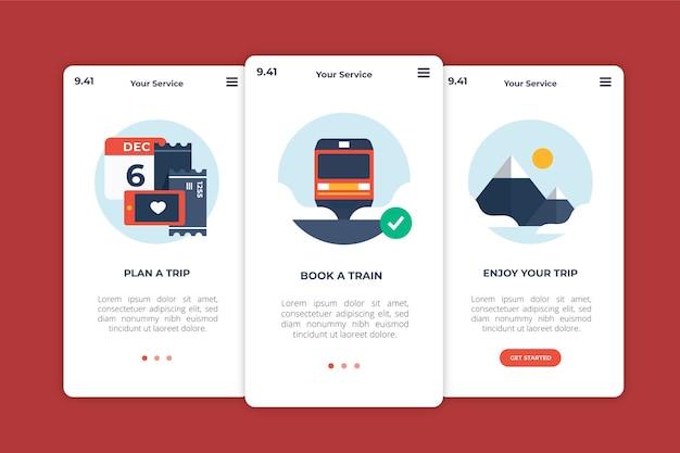 Conception d'écrans d'application d'intégration de voyage