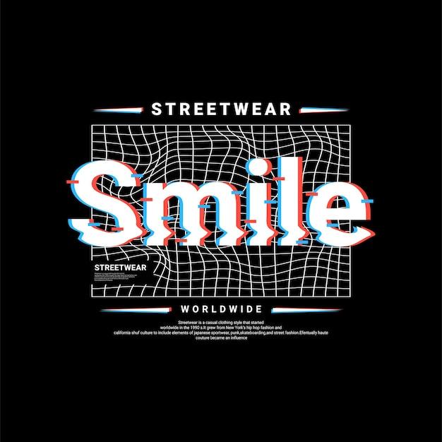 Conception d'écriture souriante, adaptée à la sérigraphie de t-shirts, vêtements, vestes et autres