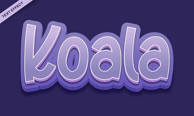 Conception d'effet de texte de couleur koala mignon