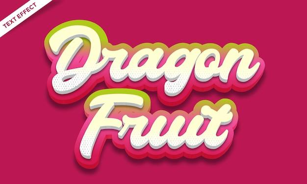 Conception d'effet de texte de fruit du dragon frais