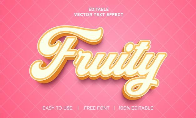 Conception d'effet de texte modifiable fruité avec vecteur premium