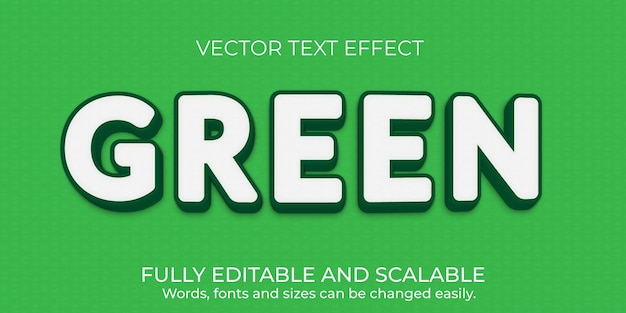 Conception d'effet de texte modifiable vert vecteur premium