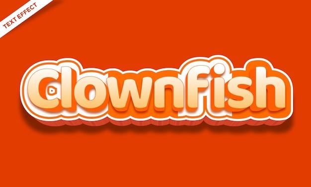 Conception d'effet de texte de poisson-clown orange