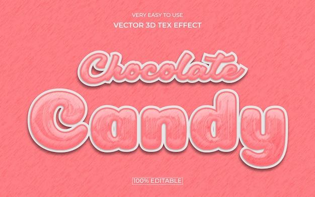 Conception d'effet de texte premium 3d modifiable de bonbons au chocolat