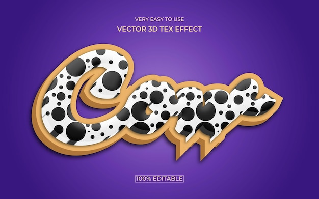 Conception d'effet de texte premium 3d modifiable de vache