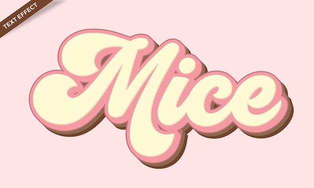 Conception d'effet de texte de souris mignonnes