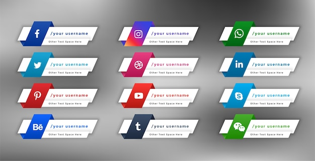 Conception élégante de bannières de tiers inférieur web de médias sociaux