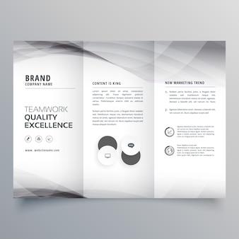 Conception élégante de brochure d'affaires à trois volets gris