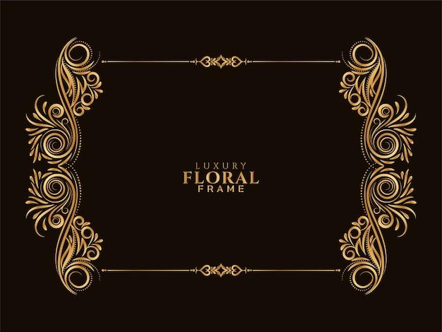Conception élégante de cadre floral doré