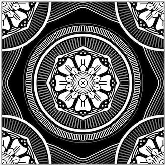Conception élégante de carreaux abstraits floraux géométriques. avec des éléments en lignes et en cercles.