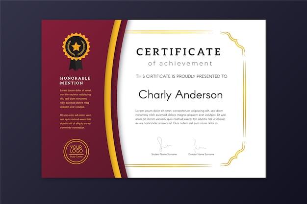 Conception élégante de certificat de réalisation