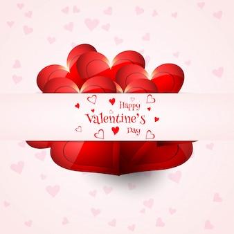 Conception élégante de coeur de carte d'amour saint valentin heureux