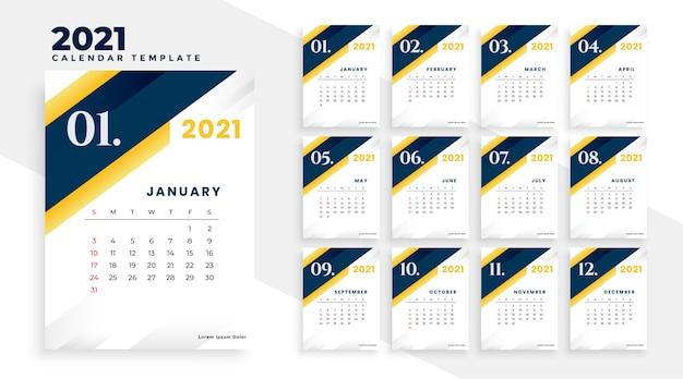 Conception élégante du calendrier 2021 dans un style professionnel