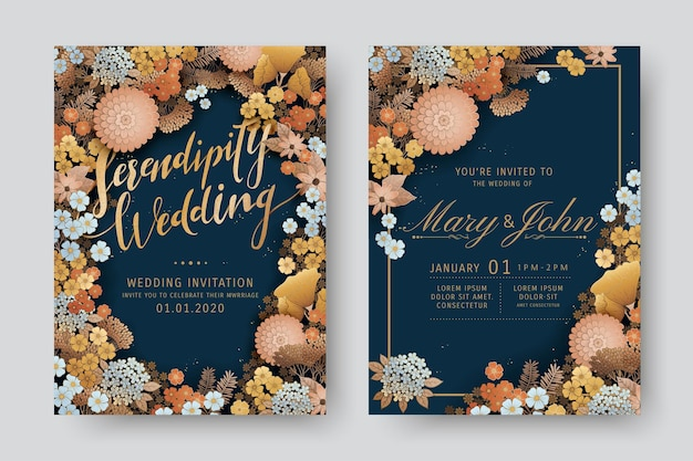 Conception élégante d'invitation de mariage avec de belles fleurs sur fond bleu foncé