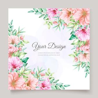Conception élégante d'invitation de mariage floral aquarelle