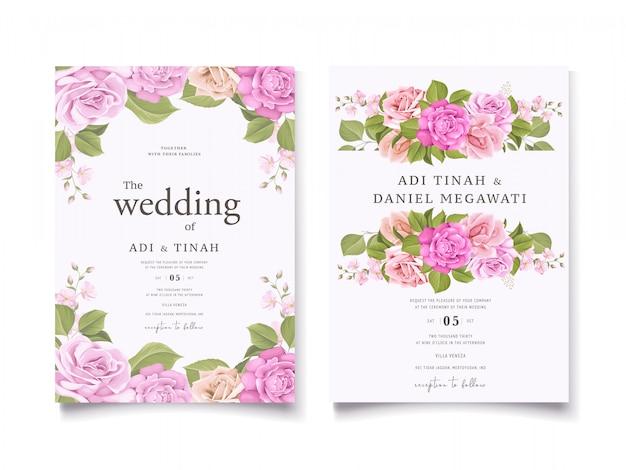 Conception élégante d'invitation de mariage floral