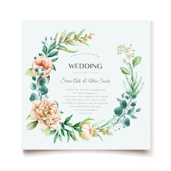 Conception élégante d'invitation de mariage de pivoines