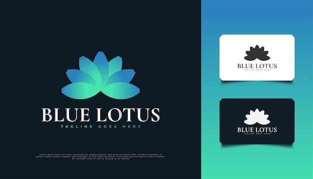 Conception élégante de logo de fleur de lotus bleu, appropriée pour l'identité de produit de station thermale, de beauté, de fleuriste, de ressource ou de cosmétique
