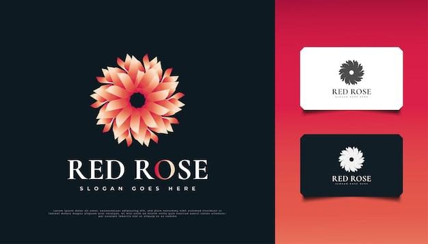 Conception élégante de logo de fleur de rose rouge, appropriée pour le spa, la beauté, les fleuristes, le complexe ou les produits cosmétiques
