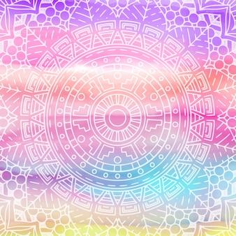 Conception élégante de mandala sur la texture aquarelle