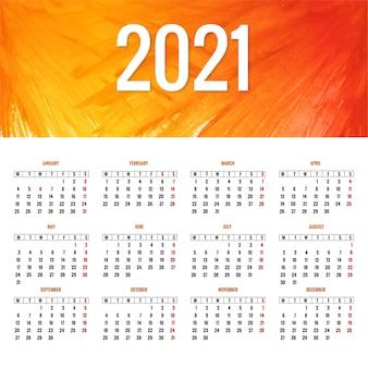 Conception élégante de la mise en page du calendrier 2021