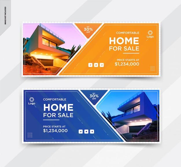 Conception élégante de modèle de couverture facebook pour l'immobilier ou la vente à domicile