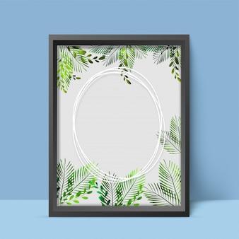 Conception élégante de photo renommée avec des feuilles vertes de couleur de l'eau.