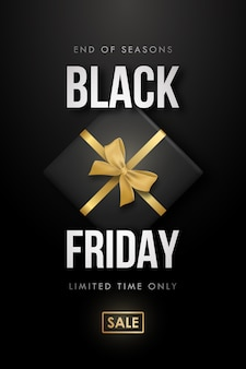 Conception élégante de vente black friday avec boîte-cadeau et arc doré.