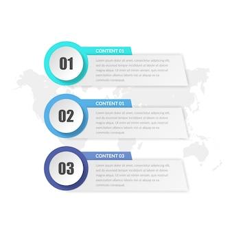 Conception d'élément infographique de trois affaires poing