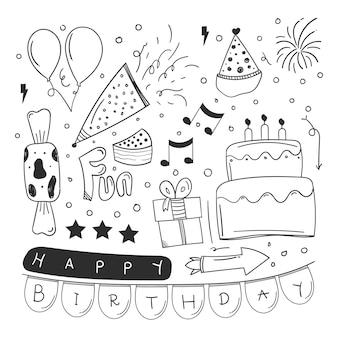 Conception d'élément joyeux anniversaire avec style doodle