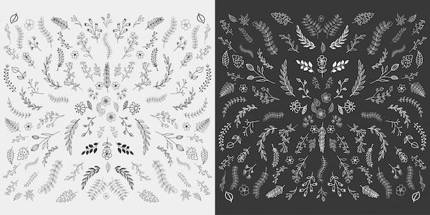 Conception d'éléments floraux dessinés à la main