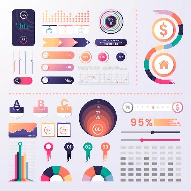 Conception d'éléments infographiques colorés