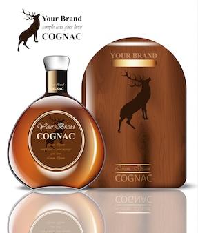 Conception d'emballage cognac. produit réaliste avec étiquette vintage de marque. place aux textes