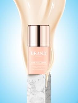 Conception de l'emballage du produit de base, bouteille cosmétique avec liquide de teint qui coule en illustration 3d
