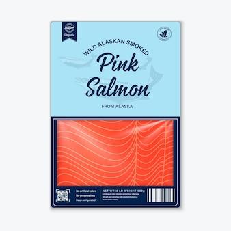 Conception d'emballage de poisson de style plat, vecteur. silhouettes roses de saumon, de pangasius et de thon