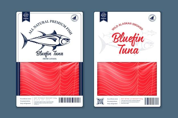 Conception d'emballage de style plat de poisson de vecteur. illustrations de saumon, de truite, de thon et de goberge d'alaska et texture de viande de poisson pour l'emballage, la pêche, la publicité, etc.